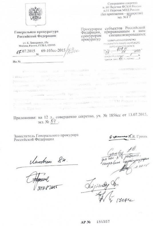 Секретные материалы с подписью заместителя Чайки утекли в сеть