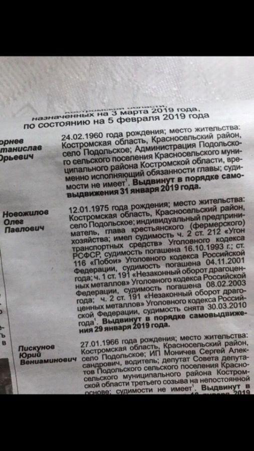 Жители в Костромской области выбрали главу с четырьмя уголовными статьями